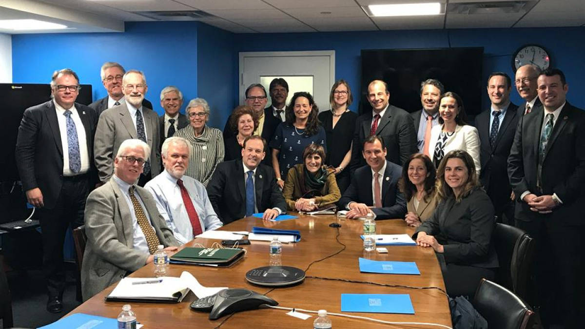 Congressman Suozzi with Rep. Lee Zeldin and Rep. Rosa DeLauro at meeting with Long Island Sound Citizens Advisory Committee