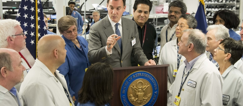 Congressman Suozzi discusses Long Island as a high-tech center with Telephonics employees