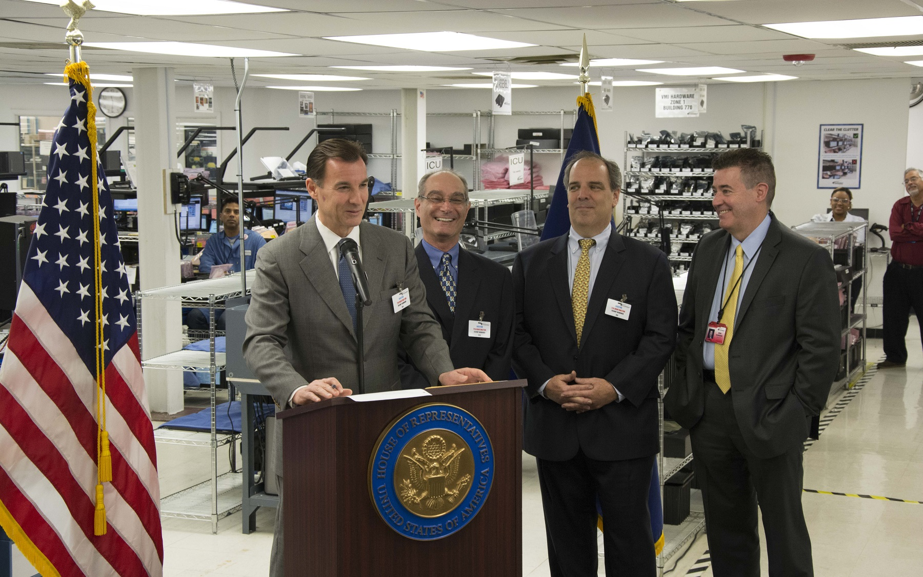Congressman Suozzi with John Spiezio (Hicksville Machine Works), Kevin McSweeney (Telephonics) and Noel Gibilaro (Hitemco)