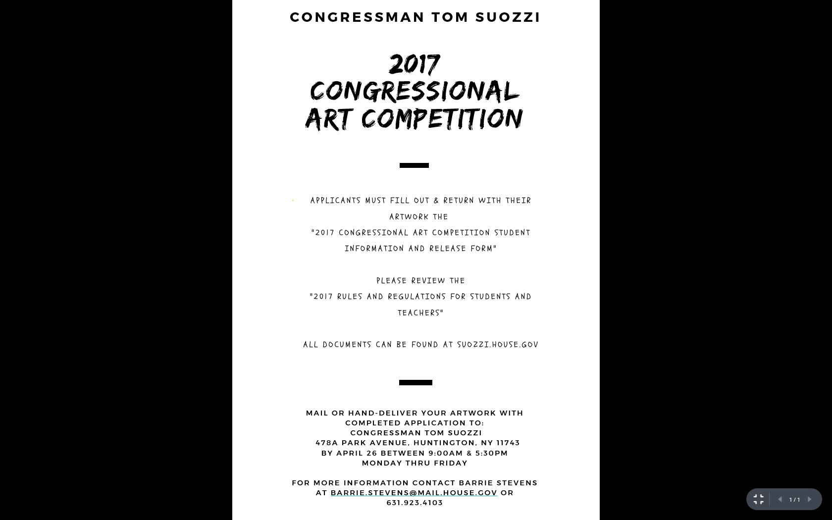 Congressional Art Competition 2017 - NY03 Announcement Flier